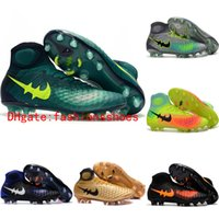 Wholesale 2017 New Original soccer shoes magista obra fg mens soccer cleats boots high top football boots outdoor high quality Gold black Blue