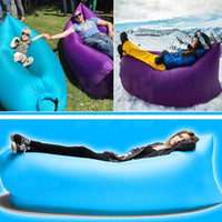 Wholesale Fast Inflatable Air Sleeping Bag Fashion Portable Outdoor Lazy Pads Lounger Air Camping Sofa Beach Polyester Fabric Sleep Bed PX S22
