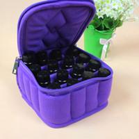 al por mayor botellas de cremallera-Pro 16 botellas de aceite esencial que lleva la caja para 5ML10ML 15ML Aceites esenciales para el bolso de maquillaje para viajar doble cremallera resistente B092