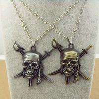 aztec pendant - Hot Chic Accessories Film Movie crossbones skull necklace Pirates of the Caribbean JACK SPARROW AZTEC bronze pendant necklace