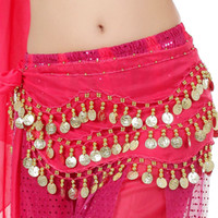 bellydance scarves - 3 Rows Gold Coins Belly Egypt Dance Hip Skirt Scarf Wrap Belt Dancing Costume Indian Bellydance Chain ZA1633