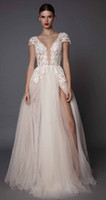 Wholesale sexy side slit wedding dresses muse berta bridal cap sleeves deep plunging v neck embellished bodice lace tulle skirt open low back