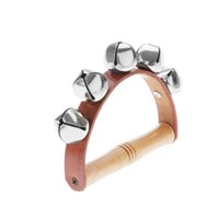 Wholesale Wood Metal Leather Handbell Musical Instrument Rhythm Beat Shaking Small Jingle Bell for Baby Kid Child Early Education