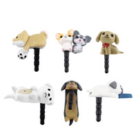 dog anti dust plugs al por mayor-Lindo perro de perrito 3,5 mm anti polvo tapón tapón enchufe jack para teléfono