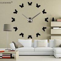 Wholesale D Mirror Wall Clock DIY Crystal Kitchen Clocks Home Decoration Reloj De Pared Butterfly ZH019
