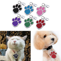 Wholesale D Pet Cat Cute Name Stainless Steel Foot Design Glitter Paw Dog Tag Dog Footprint Various Colors
