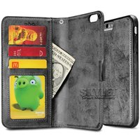 bag magnets - For iPhone PU Leather Flip Cover Case Hybrid in Removable Back Cover Magnet Case Card Slot For iPhone S Samsung S7 S6 Edge in OPP Bag
