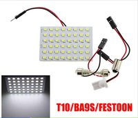 Wholesale 10X LED Auto Car Dome Festoon Interior Bulb Roof Reading Light Lamp with T10 Adapter Festoon Base SMD