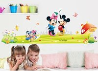 mickey mouse baby room decor achat en gros de-Bricolage Cartoon Kids MinnieMickey Mouse Stickers muraux amovibles Baby Kids Room Poster Cartoon Parlor Bedroom Home Decor Mural Decal