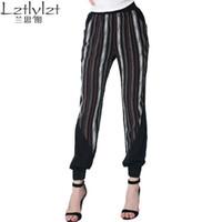 2016 Европа Мода Полосатый Щитовые повседневные брюки Street Style Black Харена Капри Брюки упругие талии брюки для зимы женщин свободные брюки