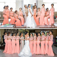 Wholesale Desgner Arabic African Plus Size Orange Coral Mermaid Bridesmaid Dresses Bridesmaids Dress Long Sleeve Lace Formal Wedding Guest Gowns