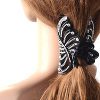 Wholesale 6pcs Large Plastic Black Hair Clip Crystal Rhinestone Claw Clamp Lady Women Hair Accessories Jewelry Headwear Hairpiece Best GIft