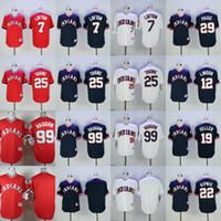 Wholesale Men s Cleveland Indians Kenny Lofton Lindor Brantley Jim Thome Vaughn Blue Throwback Baseball Jerseys