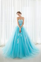 Wholesale 2017 Appliques Quinceanera Dresses Sweet Ball Gowns Floor Length Blue Fashion Women Big Girls Catwalk Celebrity Prom Dance Party Gowns