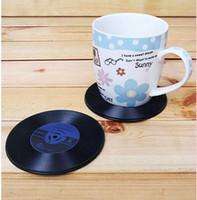 Promotion Baratos-¡¡¡Promoción!!! 1000pcs bebe el regalo retro W1128 de la novedad de la estera de la taza del Anti-Calor de los prácticos de costa de consumición del té de Coffe del disco de vinilo de CD