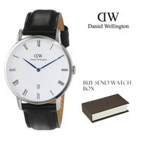 Wholesale 2017 NEW Contracted leisure ultra thin dw single calendar watch men blue needle belt student couples watch waterproof head layer