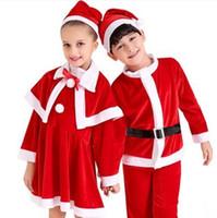 baby xmas costumes - Chirstmas velvet santa costume Xmas clothes long sleeve baby boys clothes girls dress kids clothing cosplay christmas gifts