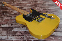 Wholesale One neck No Scarf TELE solid body Guitars Telecaster Yellow color OEM Electric Guitar in stock