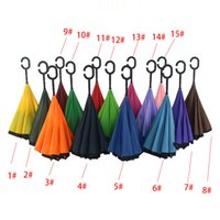 Wholesale Creative Inverted Umbrellas Double Layer With C Handle Inside Out Reverse Windproof Umbrella Free DHL XL A68