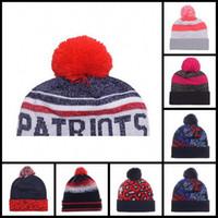 Wholesale New England Football Beanie DHL Team Pom Knit Hats Tom Brady Winter Wool Beanies For Men Women Rob Jamie Collins Caps