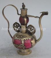 art teapots - Exquisite Chinese folk art jade and copper animal gourd shape teapot