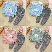 Wholesale Kids Clothes Autumn Winter Baby Boys Girls Cartoon Elephant Cotton Set Children Clothing Sets Child T Shirt Pants Suit V2