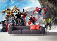Wholesale d wallpaper custom mural non woven d room wallpaper d TV setting wall American comic hero photo d wall mural wallpaper