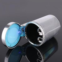 Wholesale pc Portable Ash Bin Silver LED Light Cylinder Ashtray Holder Cup Brand New For Car Office Home Travel
