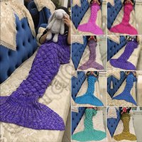 Wholesale Knitted Mermaid Tail Blanket cm For Kids Soft Warm Handmade Crochet Sleeping Bag Air Condition Blanket Christmas Gift OOA939