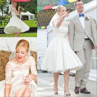 Wholesale 2017 Vintage Short Wedding Dresses Cheap Lace Scoop Neckline with Long Sleeve Tea Length Bow Sash A Line Bridal Gowns Plus Size