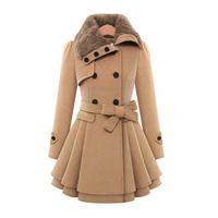 Wholesale 2017 Fur collar Winter Coat Women Casaco Feminino Abrigos Mujer A Line New Classic Double Breasted Khaki Coat Sobretudo Overcoat FS0645