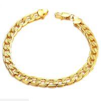 al por mayor amarilla pulsera de cadena de oro llena-Pulsera de cadena de pulsera de los hombres de la joyería del encanto de la pulsera de los hombres del oro amarillo 24K para los hombres