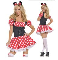 Wholesale free size Red with white polka dot Mini Minnie Mouse Costume Sexy Uniform temptation Halloween cosplay costumes