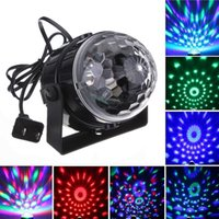 Wholesale Magic Mini Led Stage Lights W RGB Crystal Magic Rotating Ball Sound Activated Disco Party Lights Color Changing