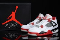 Wholesale Air J Jordan Retro IV Fire Red White Red Black Release Jordans Retros Fire Red Bred White Cement With Box