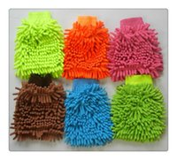 Wholesale Luva Motocross Gloves Real Guantes Motocross Motorcycle Car Wash Glove microfiber Chenille Cleaning Cloth chenille Glove drop