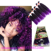 Wholesale Kinky curly deep wave Peruvian Hair curly Bundles Ombre purple Hair Weave africa synthetic brown color hair extension fast