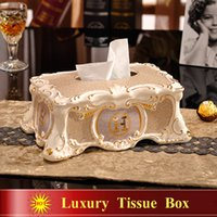 Wholesale Porcelain tissue box ivory porcelain quot H quot mark mosaic design embossed outline in gold decoration tissue box home tissue box gifts
