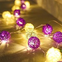beach string party lights - m LED String Fairy Lights Rattan Balls Christmas Lights Outdoor Garlands Villa Fence Beach Bar Wedding Party Decorations