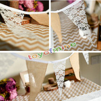 Wholesale M Vintage Chic burlap linen lace bunting flags pennant for party wedding garland decoration product supply