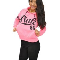 Wholesale 2017 New Spring Hoodies Loose Pink Letter Print Cotton Fleece Womens Fashion Hoodies and Sweatshirts Fashion Sweatshirt with hood