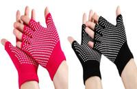 baseball glove design - Cotton Yoga Gloves Non Slip Fingerless Design New sport gloves Black and Red