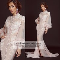 backless shirt patterns - Champagne Long Sleeve Arabic Style Evening Dresses High Neck White Dots Sexy Mermaid Formal Evening Dress In Dubai Abaya Two Piece Gowns