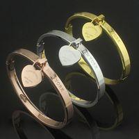 Wholesale titanium steel bracelet single peach heart buckle bracelet rose gold heart shaped bracelet Women double T Bracelets three color options