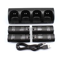 Wholesale 4 x Rechargeable Battery and Quad Charger Dock Station Kit for Wii Remote Controller Black