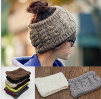 Wholesale fashion women wide crochet headband Hot winter Messy Bun empty wool hats womens wool caps wide headbands ladies hats beanies ear warmer