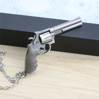 Wholesale New Arrival Men Necklace Simulated Gun Pendant Necklaces Alloy Silver Plated Chain Necklaces For Boyfriend Gift