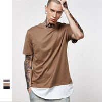 Men O-neck Short Sleeve T shirts for men 2017 new tide of men's Europe and the United States off two lengthened arc cotton men's short tee