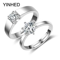 Wholesale 2pcs Couple Rings for Women and Men Solid Sterling Silver Wedding Rings CZ Diamond Engagement Ring Sets for Lovers ZR221