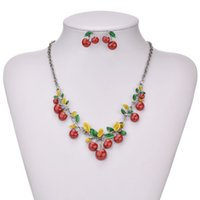 Wholesale New arrived Fashion cherry women s necklace and earrings weeding jewelry sets for wedding party